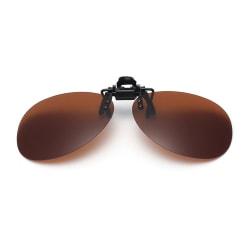 Clip-on Pilot Solglasögon Brun - Fäst på befintliga Glasögon brun