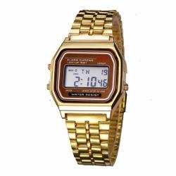 Digital Vintage Retro Klocka Armbandsur Guld Metall LCD guld