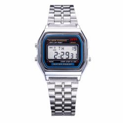 Digital Vintage Retro Klocka Armbandsur Silver Metall LCD silver