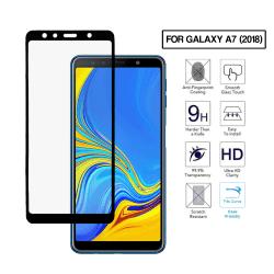 Galaxy A7 Heltäckande HD Skärmskydd Kolfiber Härdat Glas svart