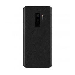 Galaxy S9 Plus Skinn Läder Skyddsplast Skin Wrap Baksida svart