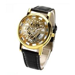 Guld Klocka Skeleton Genomskinlig Svart Läderarmband guld