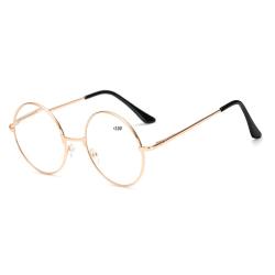 Guldiga Runda Glasögon Läsglasögon Guld Styrka +2.0 guld