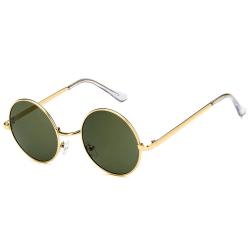 Guldiga Runda Solglasögon Grönt Glas med Senilsnöre guld