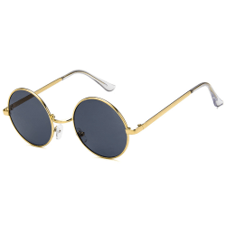 Guldiga Runda Solglasögon Svart Glas med Senilsnöre guld