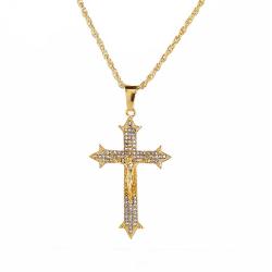 Guldigt Jesus på Kors Långt Halsband Kedja Guld Bling guld