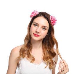 Hårband med Rosa Blommor Håraccessoar Diadem Hårblomma rosa