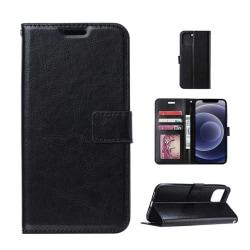 iPhone 11 Plånboksfodral Svart Läder Skinn Fodral svart