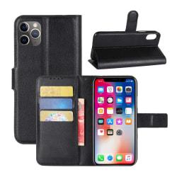iPhone 11 Pro Max Plånboksfodral Svart Läder Skinn Fodral svart