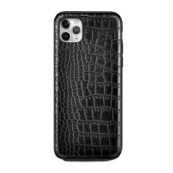 iPhone 11 Pro Mobilskal Svart Läder Skinn Krokodil Skal svart