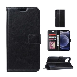 iPhone 12 Mini Plånboksfodral Svart Läder Skinn Fodral svart