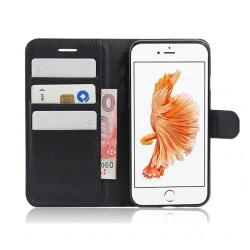 iPhone 6 Plus Plånboksfodral Svart Läder Skinn Fodral svart