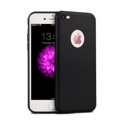 iPhone 6 7 8 SE Mobilskal Svart Läder Skinn svart
