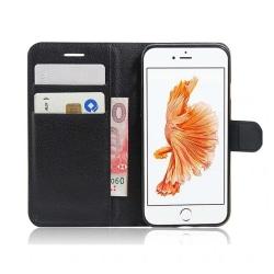 iPhone 7 Plånboksfodral Svart Läder Skinn Fodral svart
