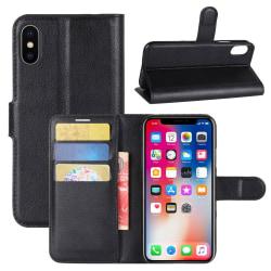 iPhone XS Plånboksfodral Svart Läder Skinn Fodral svart