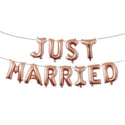 Just Married Ballonger Bröllop Giftemål Bröllopsfest Nygift guld