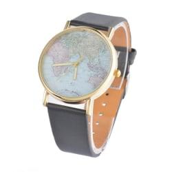 Klocka med Världskarta och Läderarmband i Retromodell (Svart) svart