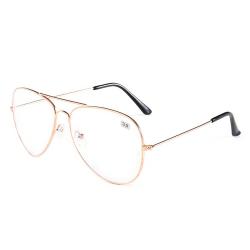 Minusglasögon Aviator Pilot Styrka -3.0 Glasögon Roséguld guld