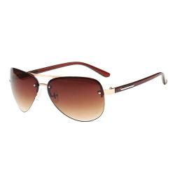 Moderna Bruna Pilotglasögon Aviator Solglasögon + Senilsnöre brun