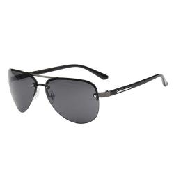 Moderna Svarta Pilotglasögon Aviator Solglasögon + Senilsnöre svart