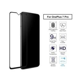 OnePlus 7 Pro Heltäckande HD Skärmskydd Kolfiber Härdat Glas svart