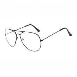Svarta Pilot Glasögon Klarglas Aviator Klart Glas svart