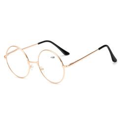 Retro Runda Läsglasögon Guld Styrka 1.0 Glasögon guld