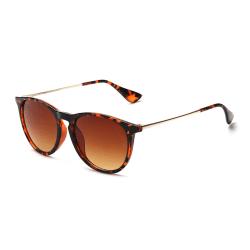 Retro Solglasögon Leopard Brunt Glas med Senilsnöre brun