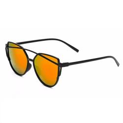 Retro Solglasögon Svart Orange Glas med Senilsnöre svart