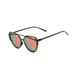 Retro Solglasögon Svart Rosa Glas med Senilsnöre svart