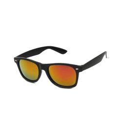 Retro Wayfarer Solglasögon Svart Rött Spegelglas med Senilsnöre svart