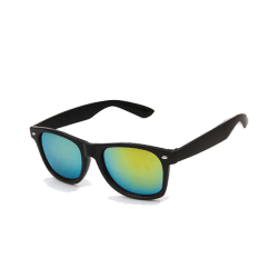 Retro Wayfarer Solglasögon Svart Spegelglas Guld med Senilsnöre svart