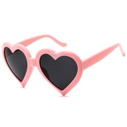 Rosa Hjärtformade Solglasögon Mörkt Glas med Senilsnöre rosa