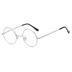 Runda Metall Datorglasögon med Blåljusfilter utan Styrka Silver silver