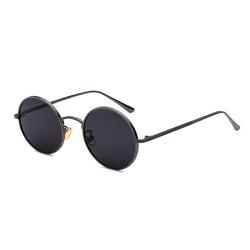 Runda Solglasögon Grå Metall Svart Glas svart