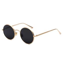 Runda Solglasögon Metall Guld Mörkt Glas + Senilsnöre guld