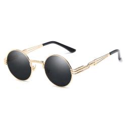Runda Solglasögon Metall Guld Svart Glas + Senilsnöre guld