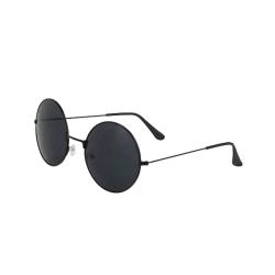 Runda Solglasögon Retro Svart Mörkt Glas med Senilsnöre svart