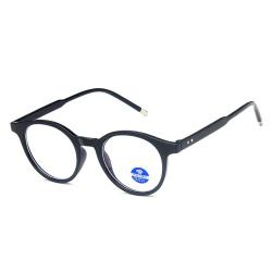Runda Svarta Datorglasögon med Blåljusfilter utan Styrka svart