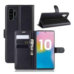 Samsung Galaxy Note 10 Plånboksfodral Svart Läder Skinn Fodral svart
