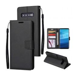 Samsung Galaxy S10 Plånboksfodral Läder Skinn Fodral Svart svart