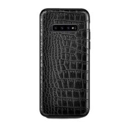 Samsung Galaxy S10 Plus Mobilskal Svart Läder Skinn Krokodil svart