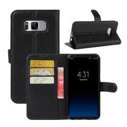 Samsung Galaxy S8 Plånboksfodral Svart Läder Skinn Fodral svart