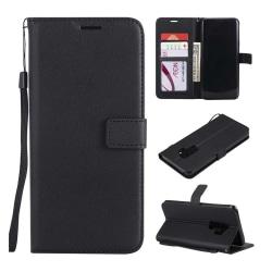 Samsung Galaxy S8 Plus Plånboksfodral Svart Läder Skinn Fodral svart