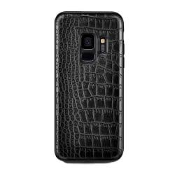 Samsung Galaxy S9 Mobilskal Svart Läder Skinn Krokodil Skal svart