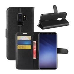 Samsung Galaxy S9 Plus Plånboksfodral Svart Läder Skinn Fodral svart