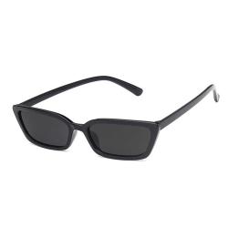 Smala Svarta Rektangulära Solglasögon + Senilsnöre svart