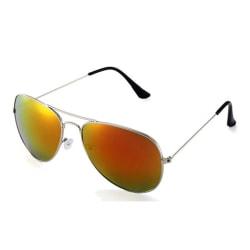 Solglasögon Pilot/Aviator Guld Rött Spegelglas med Senilsnöre silver