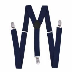 Stiliga Smala Mörkblå Hängslen med Klämmor 2,5cm Blå Navy blå