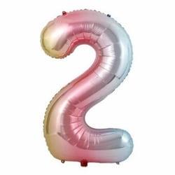 Stor Sifferballong Flerfärgad Regnbåge Födelsedag Fest 102cm 2 flerfärgad